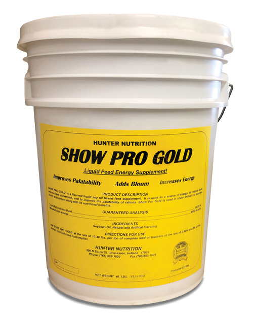 5 Gallon Bucket of Show Pro Gold with a bright Yellow label on it